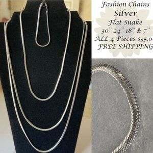 4 Piece Silver Flat Snake Link/Style Chain Set